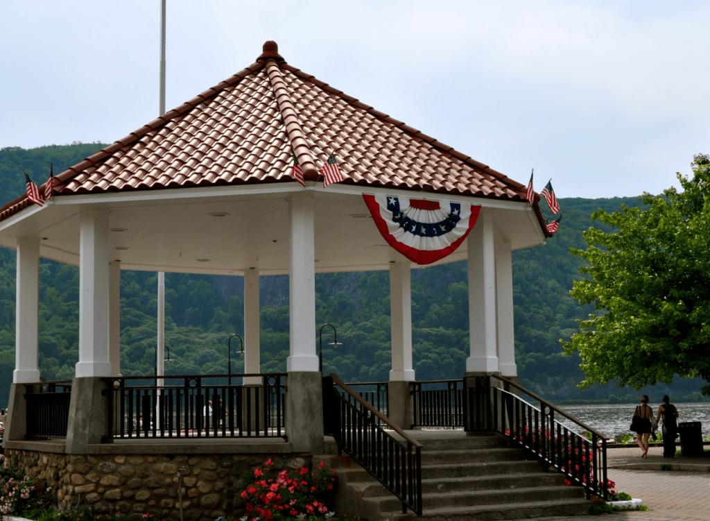 gazebo with an American flag banner